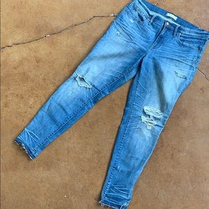 "9"" rise skinny jeans - distressed"